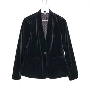 Old Navy Black Velvet One Button Blazer